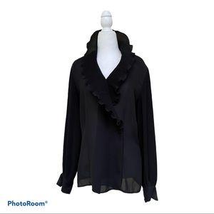 VINTAGE LIZ CLAIBORNE Black Ruffle Crinkle Shirt 6